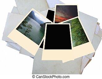 Old and new photos, polaroid frame