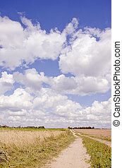 rural road and clouds