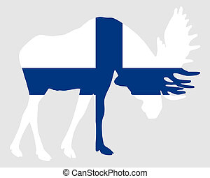 Rutting moose in finnish flag