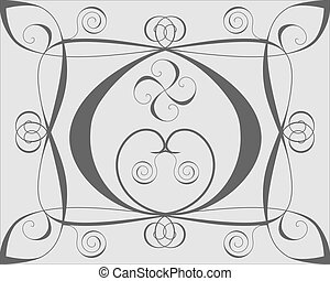Design background with hearts and spirals on gray
