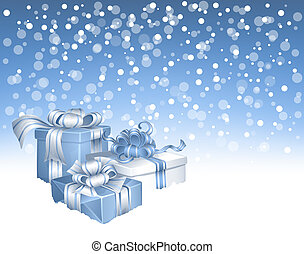 Christmas gifts - winter background with  3 Christmas gifts