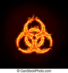 biohazard sign - a burning biohazard sign with flames, for...