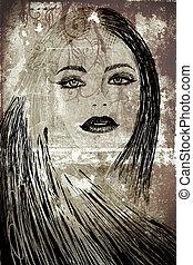 graffiti woman on wall - graffiti fashion illustration of a...