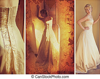 Blond bride in sleeveless wedding dress against wall...