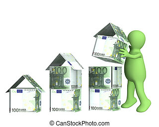 Building business - Puppet and houses from euro banknotes....