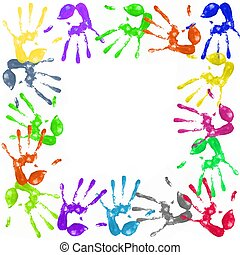 painted handprints - a lot of colorful hand prints on white...