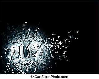 2012 in broken glass - illustration of new year 2012 in the...