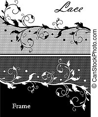 Lace frame in black and white, copyspace for your text