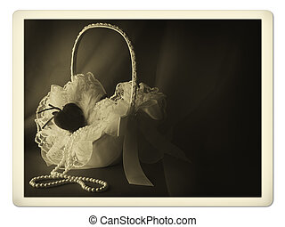 bridal basket photo - Old photo of bridal flower basket with...