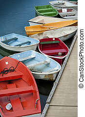 Rowboats - Dinghies by wooden dock in Rockport,...