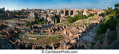 Roman forum - The Roman Forum panorama from the Palatine...