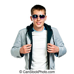 fashion man in sunglasses on white background