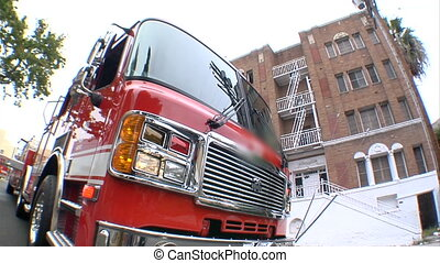 fire engine fisheye - This is a fisheye shot of a...