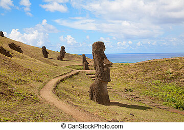 Landscape Easter island with statues - Coast of Easter...