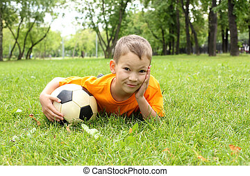 Little boy in the park with a ball - Little boy in the...