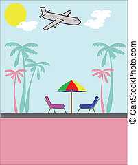 vacation time - jet flying into resort for vacation with...