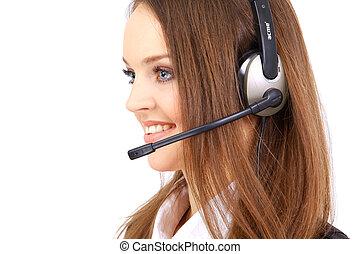 femme, Porter, casque à écouteurs, bureau,...