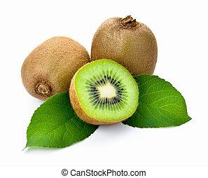 Kiwi fruit with leaves on white background