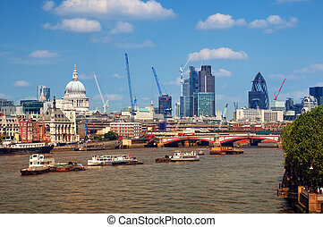 River Thames and City of London. This view includes :Tower...