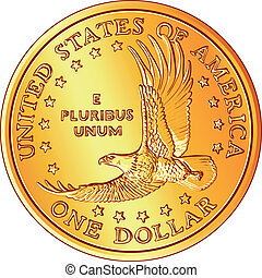 vector American Money, gold Dollar coin with the image of a flyi