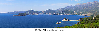 Montenegro coast panorama with St. Stefan islet