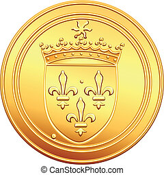 vector gold coin French ecu obverse - obverse old French...