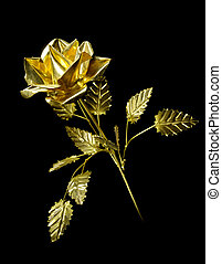 Yellow Metal Rose - Shiny metal rose Flower made from brass...
