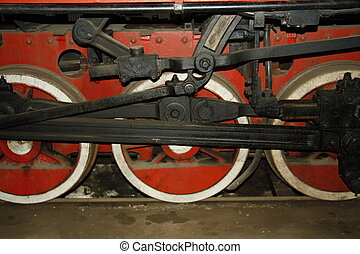 Wheels of Steam train - Red wheels of old steam train