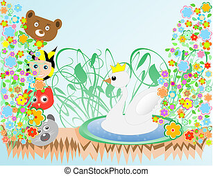 cute baby boy and animals viewing duck with crown background