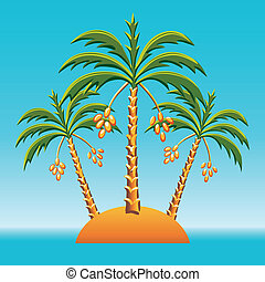 vector three date palm trees on an island in the ocean