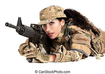 Beautiful army girl with rifle is aiming - Beautiful army...