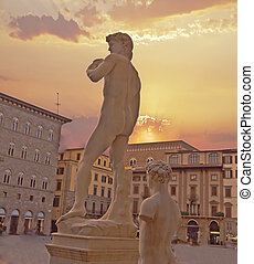 David of Michelangelo - Back view of world famous statue of...