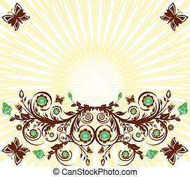 vector illustration of a floral ornament background with sun and  butterflies