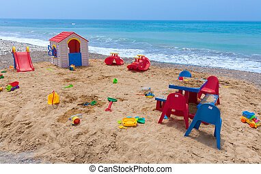 Children playground on the cyprus beach