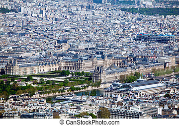 Louvre palace- aerial view from Eiffel Tower, Paris, France
