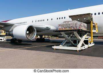 airplane, ladda,  freigth