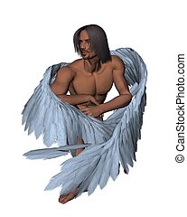 Dark-haired Male Angel - Dark-haired male angel, 3d...