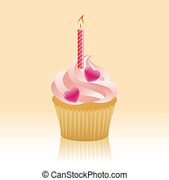 Anniversary Cupcake - Cupcake with hearts and candle. EPS 8...