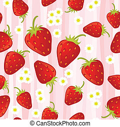 Strawberry seamless pattern with stripes. EPS 8 CMYK with...