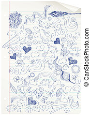 Doodling at school. - Curled notebook page with doodles....