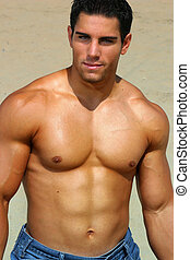 Shirtless bodybuilder - Sexy muscular shirtless man outdoors