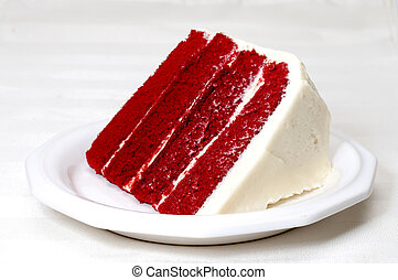 Red Velvet Cake - Slice of red velvet cake on plate