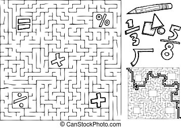 Math Maze - Coloring page math maze with interchangeable...