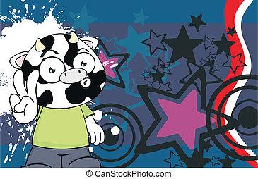 cow kid cartoon background2