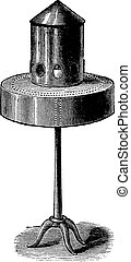 Pigeon bird feeder or bird feeder, vintage engraving. -...