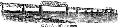 Viaduct Bridge at Louisville, Kentucky, Ohio, USA, vintage...