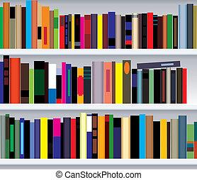modern bookshelf - vector illustration of modern bookshelf
