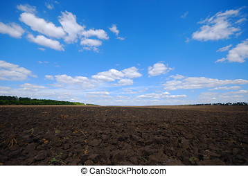 Plowed land under cloudy blue sky
