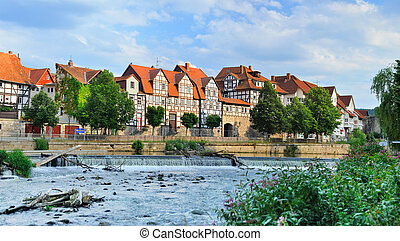 Idyllic city Hann Munden in Germany and river Fulda, famous...