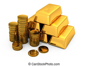 3d gold bars and coins on white